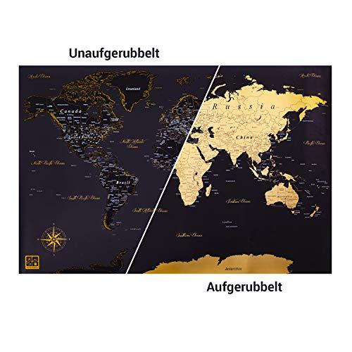 Preisvergleich Produktbild Travel Palace / Die ERSTE Designer Rubbel-Weltkarte mit Gold Untergrund! / in XXL / (Schwarz / Gold) / Premium Geschenk für Reise Abenteuer