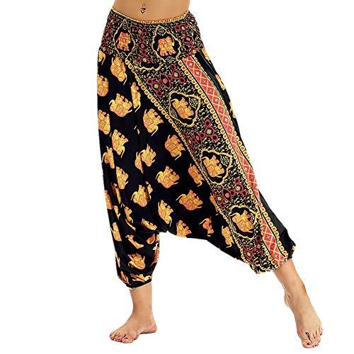 Fansu Pantalones Boho Mujer Verano, Casual Harem Yoga Hippies Bohemio Impreso Desgaste Playa Fiesta (una Talla,Elefante Dorado)