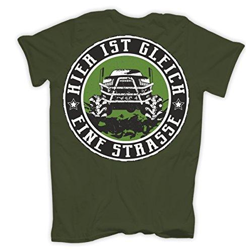 Männer und Herren T-Shirt 4x4 Offroad (mit Rückendruck) Olive