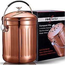 RED FACTOR Premium Seau Compost Inodore en Acier Inoxydable pour Cuisine - Poubelle Compost Cuisine en Cuivre de 5L - Le Composteur Cuisine Comprend 3 Filtres à Charbon de Rechange