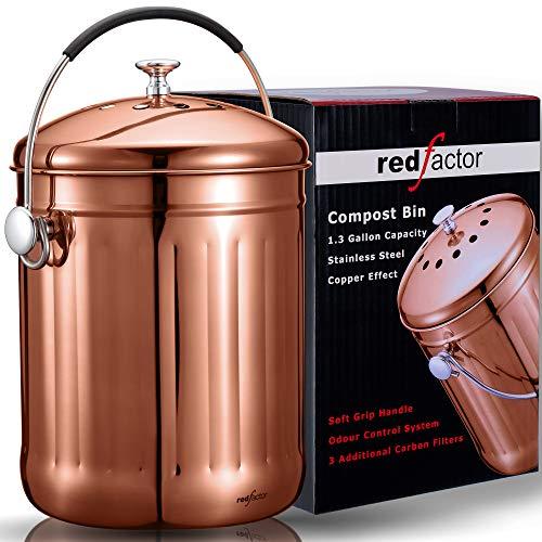 RED FACTOR Premium Cubo Reciclaje de Cocina Inodoro de Acero Inoxidable para Encimeras - Cubo Basura...