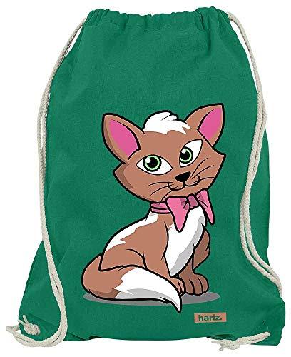 HARIZ Turnbeutel Kätzchen Schleife Süß Tiere Dschungel Plus Geschenkkarte Grün One Size -