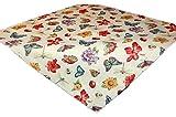 Tischdecken ALLZEIT Landhaus TISCHDECKE 85x85 cm Eckig Gobelin-Decke Mitteldecke Schmetterlinge Blüten Bunt Gewebt Polyester Frühlingsdecke