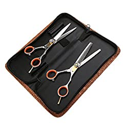 MagiDeal Premium 2 Pieces Stainless Steel Hair Cutting Scissors Bangs Shears for Salon Barber