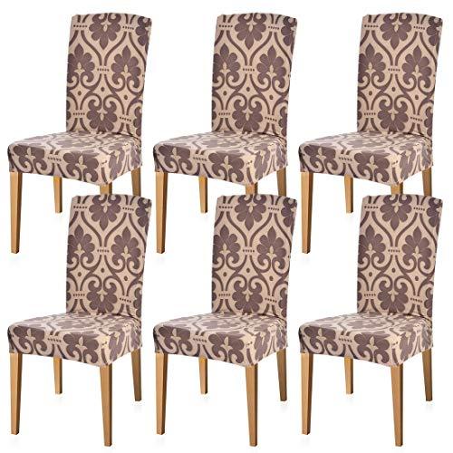 NIBESSER 6er Set Stuhlhussen Stretch Stuhlbezug Dekoration Stuhlüberzug für Universelle Passform Elastan