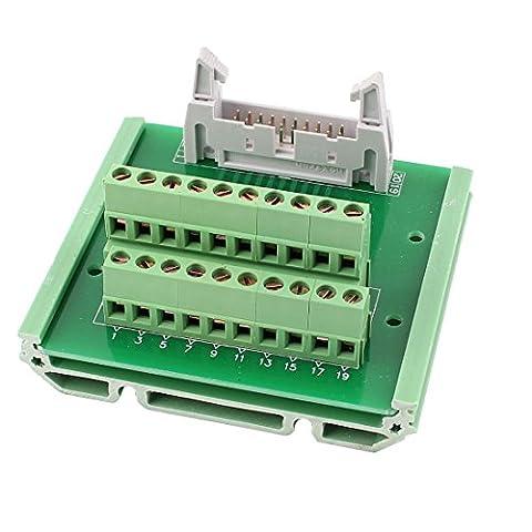 sourcingmap® IDC 20 broches Carte Dérivation en-tête bloc Terminal Interface Adaptateur PLC avec Cadre