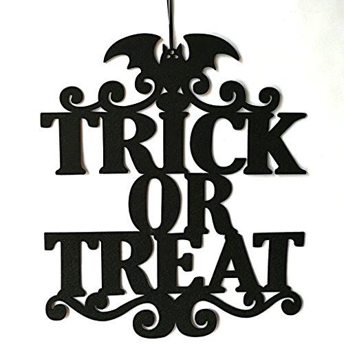 Providethebest Schwarz Trick or Treat Brief Wandschilder für Hauptschule-Büro-Party-Dekor Halloween Hängen Türdekoration