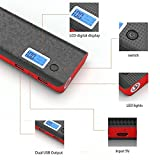 DoSHIn 20000mAh Power Bank Externer Akku Tragbar Ladegerät hohe Kapazität 2-Ausgang External Battery Pack für iPhone 7 plus/ 6s plus/5/4, iPad, iPod, Samsung, Smartphones, Tablet-PC (Schwarz-Rot)
