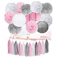 Décorations d'anniversaire de fille Furuix 24pcs rose gris blanc / gland guirlande papier lanternes papier de soie Pom Pom nid d'abeille boule pour douche nuptiale décoration de mariage / décorations
