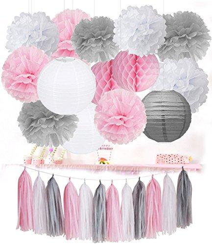 Rosa Grau Weiß Pompoms Deko Quaste Girlande Baby Dusche Dekoration Party Deko Deko Hochzeit Lampion Deko (Weiße Quaste)
