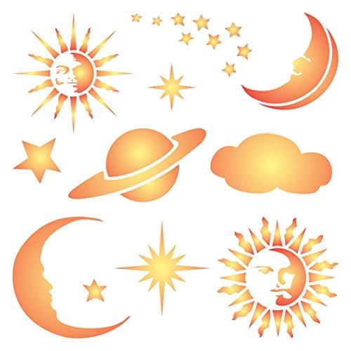 Celestial Schablone-wiederverwendbar Sonne Sterne Mond Planet Saturn Cloud Wand Schablone-Vorlage, auf Papier Projekte Scrapbook Tagebuch Wände Böden Stoff Möbel Glas Holz usw. m - Stern-schablonen