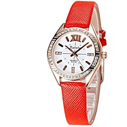 Mode Diamanten Damenuhr Quarz , red