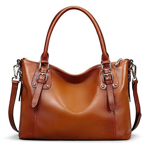 S-ZONE Geschenk der Mutter Tages Damen Classic Leather Tote Hobosund Schultertasche (B-Braun)
