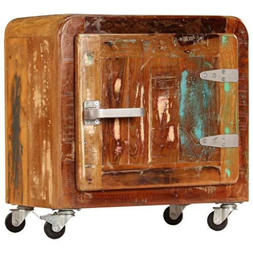 yorten Nachttisch mit 1 Tür und 4 Rollen Nachtkommode Beistelltisch Sofatisch aus Recyceltes Massivholz 50 x 30 x 50 cm (B x T x H) Vintage-Charme