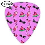 Gitarrenplektren, Mode, Comic Flamingo Fruit Popsicle (2) 0,96 mm, 0,71 mm, 0,46 mm, Mode für Gitarre, Mandoline und Bass, Ihre E-Gitarre