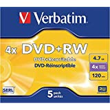 Verbatim DVD+RW SERL 4.7GB 4X MATT ZILVER SURFACE Jewelcase Pack 5