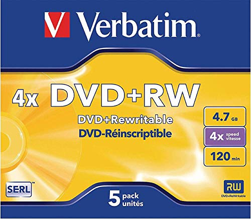Verbatim DVD+RW 4x Speed 4,7GB  Jewel Case 5er Pack DVD-Rohlinge