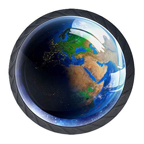 Blauer Planet Möbelgriff Schubladengriff 4 Stücke Mit Edelstahlschrauben Wohnkultur Kristall 3D Display Möbelknöpfe Zieht Kabinett Knöpfe Für Schrank 3.5×2.8CM -