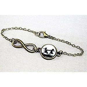Große und kleine Schwester – Freundschafts Scherenschnitt Infinity Armband bronze,16-17cm, handmade, ein süßes Geschenk für die liebste Schwester oder beste Freundin