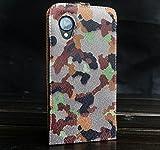Urcover Flip Cover LG Nexus 5, Custodia Protettiva Chiusura Magnetica Wallet Case LG Nexus 5 5 Pollici - Camou Verde