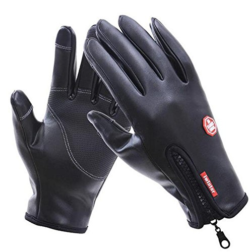 Men gloves Winter Keep warm Plus cashmere Outdoor Exercise Gloves waterproof Windproof Touch screen Divide the finger Full leather Swimsuit cloth gloves , 002 , L