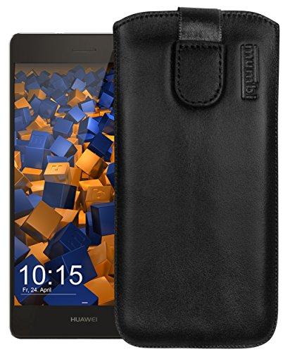 mumbi ECHT Ledertasche Huawei P8 Lite Tasche Leder Etui (Lasche mit Rückzugfunktion Ausziehhilfe)