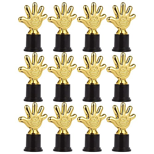 Pack de 12Mini Trofeos–Premio Trophy–Trofeo Premio trofeo–trofeos de plástico–para niños, oro, negro