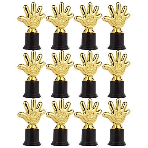 12Stück Mini Pokale–Award Trophy–Trophy Award–Kunststoff–Trophy-Pokale für Kinder, Gold, Schwarz