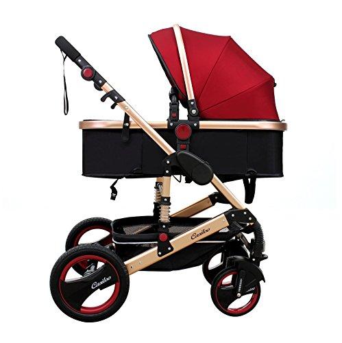 Alu Kinderwagen 3in1 Kombi Kinderwagen Wanne Buggy 0-12kg Casiloo® faltbar (Weinrot)