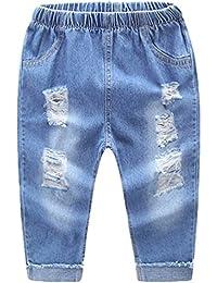 7759f9e7e2 NiSeng Kinder Zerrissen Jeans Hose Mädchen & Jungen Cowboy Hose Casual  Elastische Taille Denim Hose