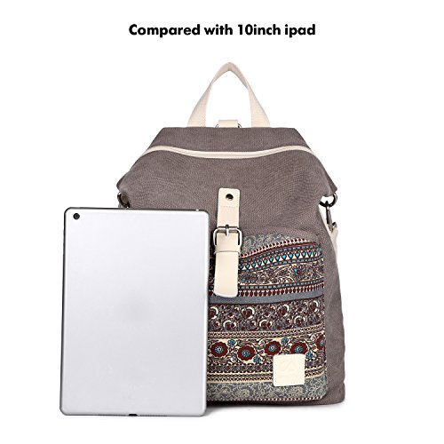 DCCN Damen Rucksack Canvas Schultertasche Umhängetasche Schulrucksack Laptop Casual Backpack Reise Rucksack Daypack Damen