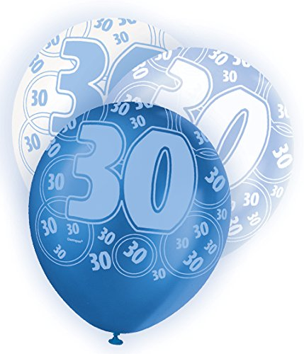 30th Birthday in Blue Glitz / Sparkle (30th Latex Balloons)