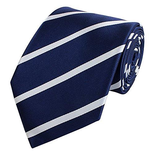 Fabio Farini Gestreifte 8-CM Herren Krawatten, verschiedenen Farben für alle Anlässe, Dunkelblau mit weißen Streifen - Krawatte Streifen