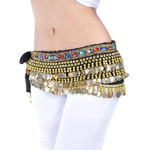 YuanDian Damen Farbe Diamant Bauchtanz Taillenkette Hüfttuch Gürtel Bauch Tanzen Schal Rock Mit Münzen ()