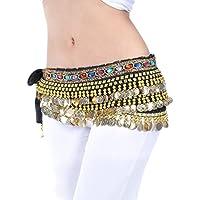 YuanDian Mujer coloreados Diamantes Monedas Danza del Vientre Espectáculo Bufanda Cinturon Cintura Cadena Falda Trajes De Belly Dance
