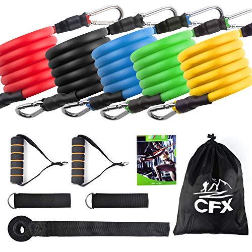 cfx set di fasce di resistenza, bande di resistenza, 5 bande elastiche in lattice con maniglie, per attrezzi da fitness, yoga, pilates,il meglio per gli uomini, le donne