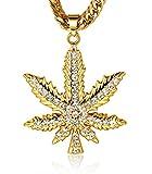Halukakah Marijuana Männlich In 18 Karat Vergoldetete Marijuana Anhänger Halskette mit Kostenloser Cuban Kette 30