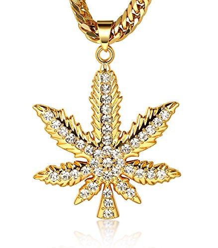 ana ● Männlich In 18 Karat Vergoldetete Marijuana Anhänger Halskette mit Kostenloser Cuban Kette 30