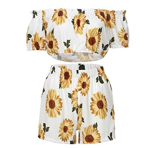 TUDUZ Shorts und Top Sets Damen Sommer Strand Zweiteiler Schulterfrei Sunflower Printed Beachwear Chiffon Crop Tops (Weiß, M)