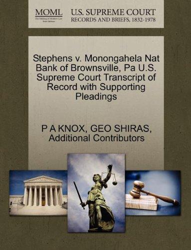Stephens V. Monongahela Nat Bank of Brownsville, Pa U.S. Supreme