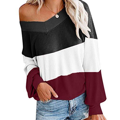 Damen WinterLoses OberteilV-Ausschnitt Streifen Colorblock Langarm-Shirts Sweatshirt zur Seite Fahren -