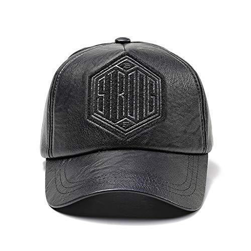 Imagen de qqyz sombrero de hombre pu cuero hip hop  de béisbol ajustable negro