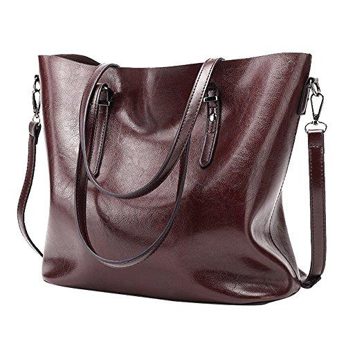 Tibes grande bolso hombro bolso totalizador trabajo bolso mujeres bolso PU cuero A Tinto de vino
