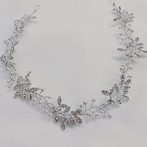 Handmadejewelrylady - Hochzeits-Kristall-Strass-Stirnband, Haarschmuck im Weinrebenstil, Damenkopfschmuck für Abendfeiern - 4