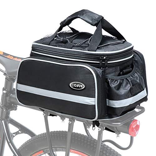 COFIT Borsa a Bauletto per Bici 25L, Borsa Portapacchi Posteriore per Bicicletta di Grande capacità, Adatta per Viaggi in Bicicletta con Copertura Antipioggia Nero