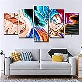 SUNSUUNY Leinwand Wandkunst Print Foto Dragon Ball Wukong Moderne 5 Stück Druck Leinwand In HD Kunstwerk Für Wohnzimmer Schlafzimmer Home Office Dekorationen (Rahmenlos),30×45Cm*230X60cm*230×75Cm*1