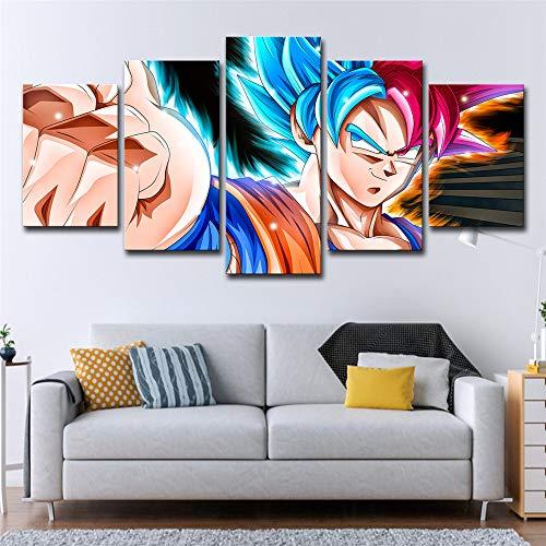 SUNSUUNY Leinwand Wandkunst Print Foto Dragon Ball Wukong Moderne 5 Stück Druck Leinwand In HD Kunstwerk Für Wohnzimmer Schlafzimmer Home Office Dekorationen (Rahmenlos),30×45Cm*230X60cm*230×75Cm*1 (Home-wohnzimmer Dekorationen)