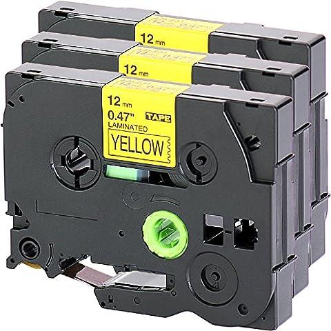 3x Nastro Tape Cassette per Brother TZe - 631 12 millimetri nero su giallo 12 millimetri di larghezza x lunghezza 8m compatibile con TZ631 per esempio P-Touch 1000W