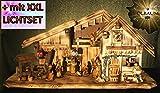 Krippenstall KA70-ng-MFHO-ALP Weihnachtskrippen Ölbaum,Massivholz edel GEFLAMMT - mit großen 13 x PREMIUM-Krippenfiguren in Echtholz-Optik GEBEIZT beige-braun + goldener Engel - krippen mit Beleuchtung auf Wunsch*, Trafo und 2 x Krippen - Lämpchen mit 2 x Laterne