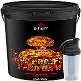3000g / 3Kg WPC Whey Protein / Hard Gain, Erdbeere, Himbeere, Toffi oder Plätzchen Geschmack / Eiweißpulver Muskelaufbau + Shaker (Himbeere)